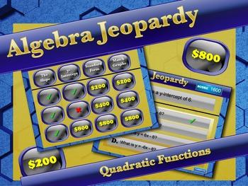 Interactive Math Game--Algebra Jeopardy: Quadratic Functions