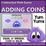 Interactive Math Game Counting Coins Determining Equal and Unequal {Yum Yums}