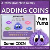 Interactive Math Game Money Adding Same Coin Combinations