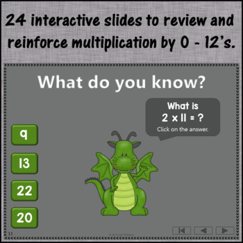 Interactive Math Game Multiplication by 0-12 {Dancing Dragon}