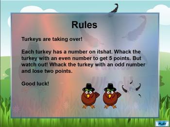 Interactive Math Games--Turkey Whack Bundle