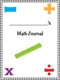Interactive Math Journal Cover and Table of Contents page