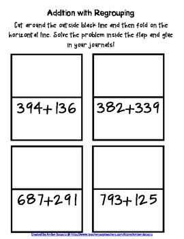 Interactive Math Journal Flippers for 3.NBT.2 Freebie