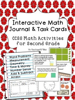Interactive Math Journal & Task Cards {CCSS activities for 2nd grade}