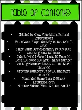 Interactive Math Journals--PLACE VALUE