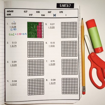Interactive Math Notebook: Adding Decimals {Grade 5}