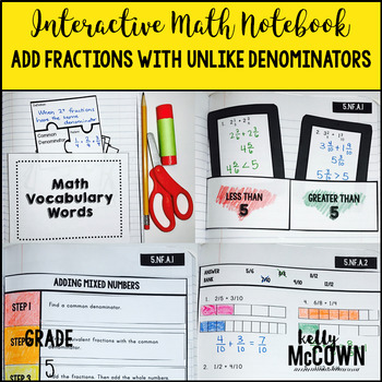 Interactive Math Notebook: Adding Fractions with Unlike Denominators {Grade 5}