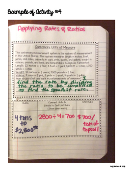 Interactive Math Notebook: Applying Rates & Ratios {Grade 6}