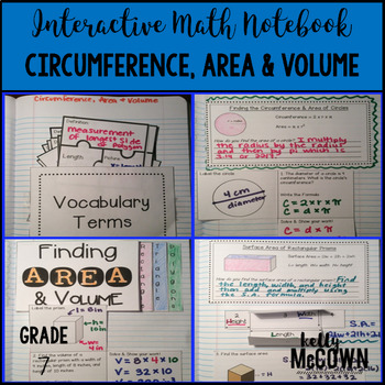 Interactive Math Notebook: Circumference, Area, and Volume {Grade 7}