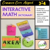 Interactive Math Notebook Dictionary Journal – Grade 3 - Common Core Aligned