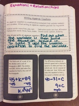 Interactive Math Notebook: Equations and Relationships {Grade 6}
