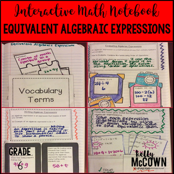 Interactive Math Notebook: Equivalent Algebraic Expressions {Grade 6}