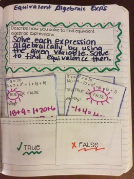 Interactive Math Notebook: Equivalent Algebraic Expressions {Grade 6}