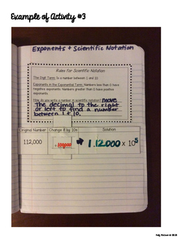 Interactive Math Notebook: Exponents & Scientific Notation {Grade 8}
