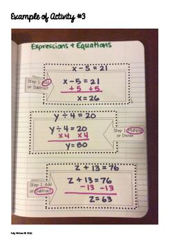 Interactive Math Notebook: Expressions & Equations {Grade 7}