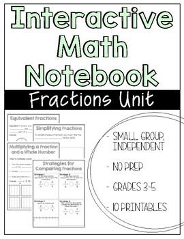 Interactive Math Notebook Fractions Unit