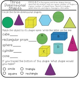 Interactive Math Notebook Geometry & Fractions - Second Grade