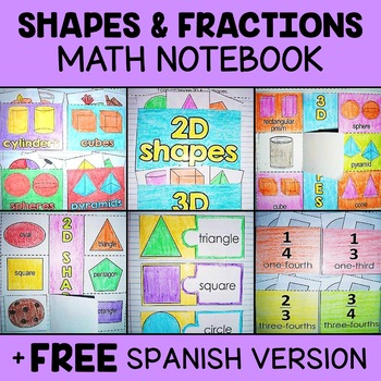 Shapes and Fractions Math Interactive Notebook Activities