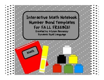 Interactive Math Notebook  Number Bond Templates For FALL