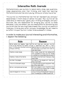Interactive Math Notebook: Rules & Expectation Page