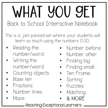 Interactive Math Notebook designed for Special Education