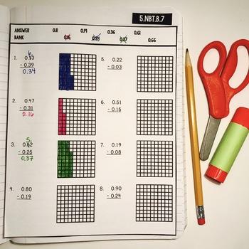 Interactive Math Notebook: Subtracting Decimals {Grade 5}