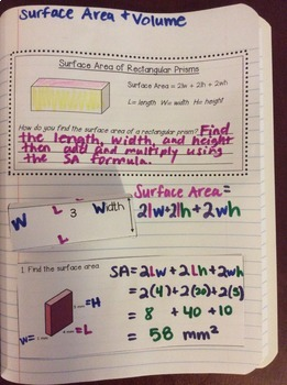 Interactive Math Notebook: Surface Area & Volume of Solids {Grade 6}