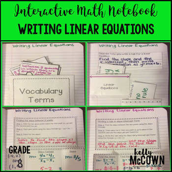 Interactive Math Notebook: Writing Linear Equations {Grade 8}