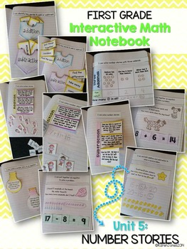 Interactive Math Notebook for 1st grade {Unit 5: Number Stories}