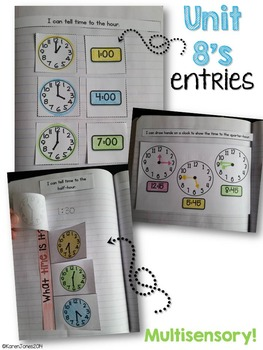 Interactive Math Notebook for 1st grade {Unit 8: Time & Money}