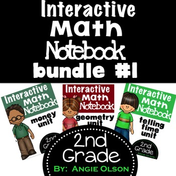 Telling Time, Money, & Geometry 2nd Grade Math Notebook Bundle