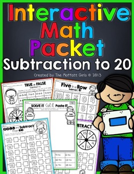 Interactive Math Packet (Subtraction to 20)!