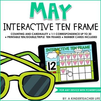 Interactive Ten Frame Math Games May by A Kinderteacher Life | TpT