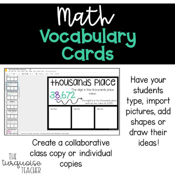 Interactive Math Word Wall Vocabulary Cards & Digital: Year Long Bundle
