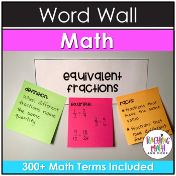 Interactive Math Vocabulary Word Wall {Grades 3 to 5}
