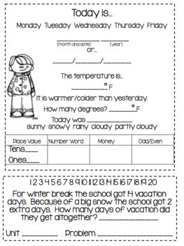 December Daily Calendar/Weather Activities... Math Review and Practice