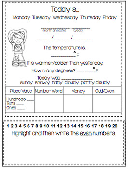February Daily Calendar/Weather Activities... Math Review and Practice