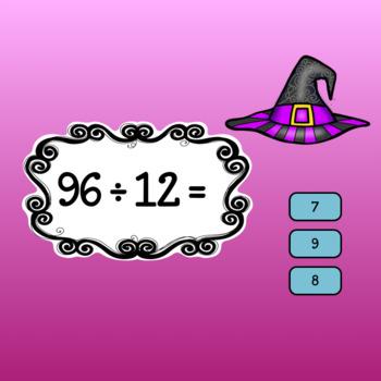 Interactive Math game-Google Slides/PDF-Division Spooky Spells & Boiling Brews