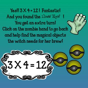 Interactive Math game-Google Slides/PDF-Multiplication Spooky SpellsBoilingBrews