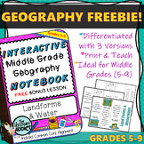 Interactive Notebook Geography Lesson FREEBIE ~ Landforms & Waterways