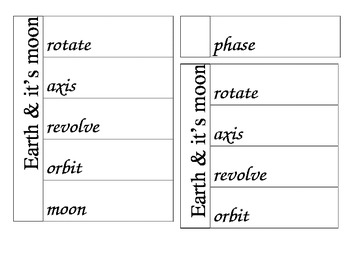 Interactive Moon Vocabulary foldable for notebook