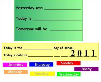 Interactive Morning Calendar for Smartboard