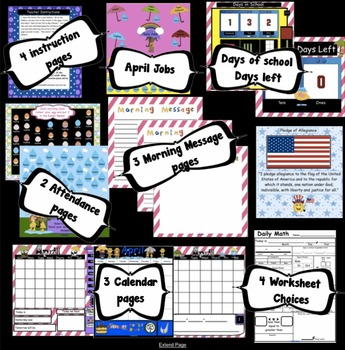 Interactive Math and Calendar  SMARTBoard for April Common Core