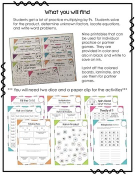 Interactive Multiplication Printables and Games (x9)