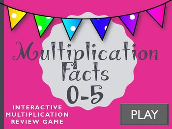 Interactive Multiplication Review Game. Math Facts 0-5.  Powerpoint!