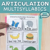 Multisyllabic Words Interactive NO PREP Activities Speech Articulation therapy