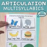 Multisyllabic Words Interactive NO PREP Activities Speech Articulation therapy