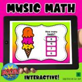 Music Theory Boom Cards- Ice Cream Music Math Game- Summer Theme Music Game