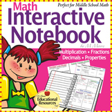Math Interactive Notebook - Perfect for 5th Grade through 7th Grade!