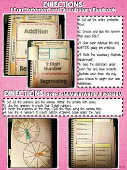 Interactive Notebook Activities - Adding Four 2-Digit Numbers {2.NBT.6}